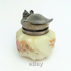 Wavecrest Syrup Pitcher with Silver Plated Handle and Lid Circa late 1800's