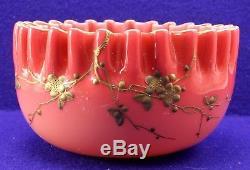Webb Enamel Gilt Floral Motif w Raised Vines Cased Glass Peachblow Bowl