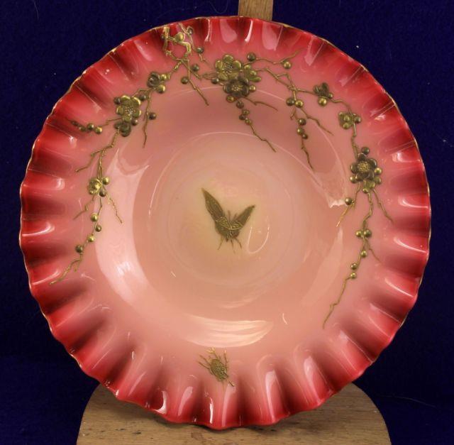 Webb Enamel Gilt Floral Motif W Raised Vines Cased Glass Peachblow Underplate