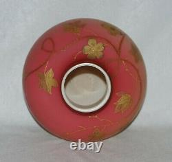 Webb Harrach Gold Decorated Satin Peach Blow 6 7/8 Art Glass Vase, Signed