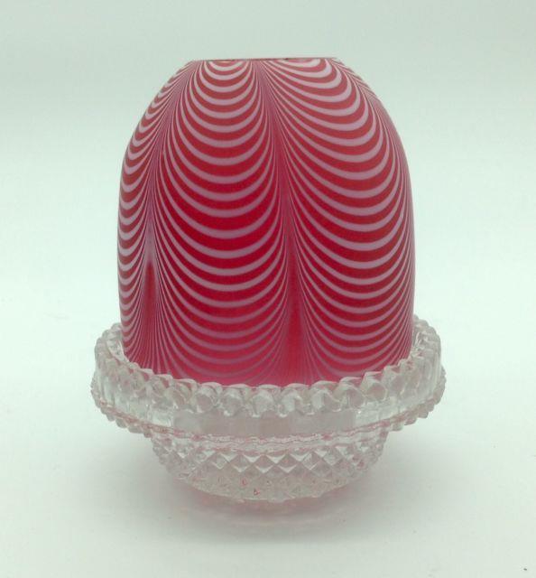Webb Nailsea Draped Antique Victorian Fairy Lamp Cover & Base Art Glass