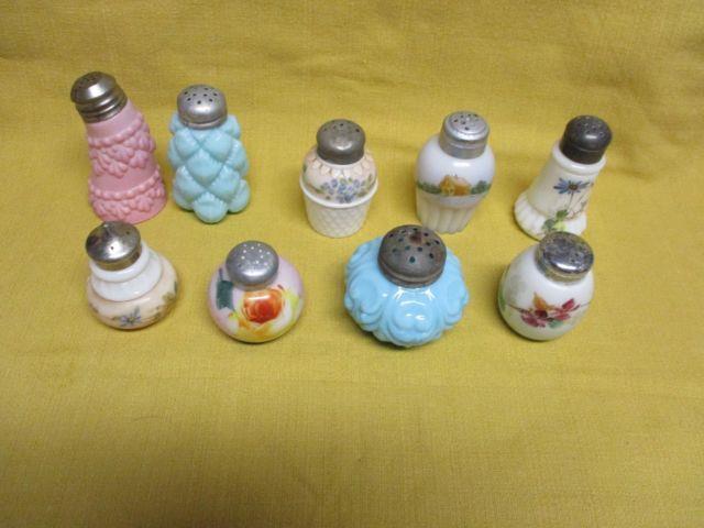Wholesale Lot Of 8 Victorian Salt Shakers Ca 1880-1900, Mt Washington, Etc