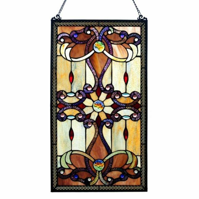 Window Panel Suncatcher Victorian Tiffany Style Framed Stained Glass Craftsman