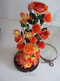 XL Vintage Victorian Style Hand Blown Glass Dome Display Art silk Flowers 18.9